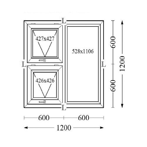 Aluminium Top Hung Windows 120x120
