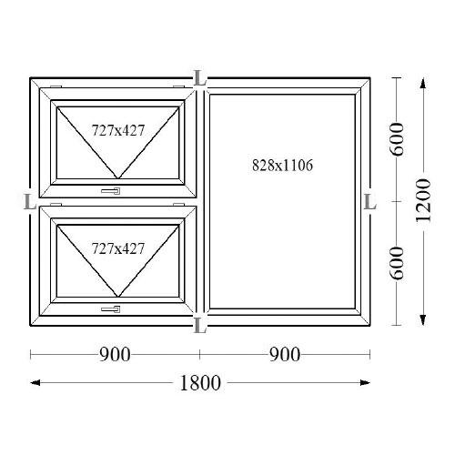 Aluminium Top Hung Windows 180x120