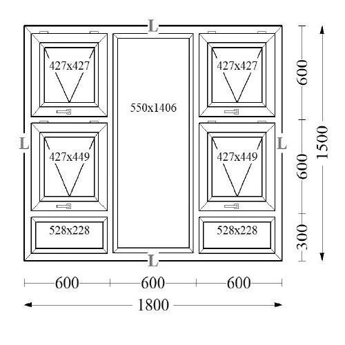 Aluminium Top Hung Windows 180x150