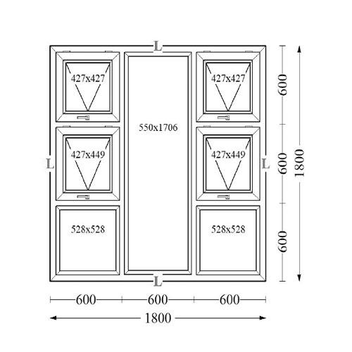 Aluminium Top Hung Windows 180x180