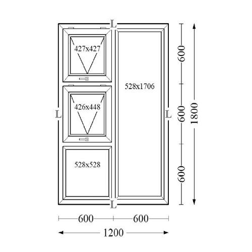 Aluminium Top Hung Windows 20x180