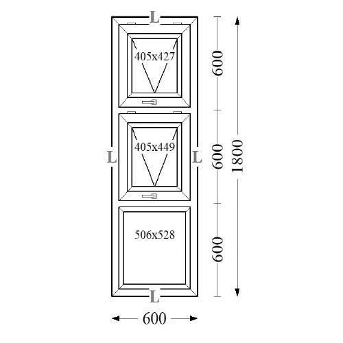 Aluminium Top Hung Windows 60x180