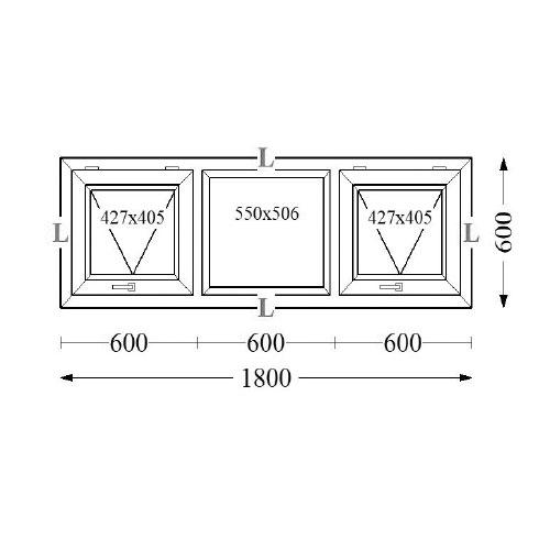Aluminium Top Hung Windows TH 180x60 2a